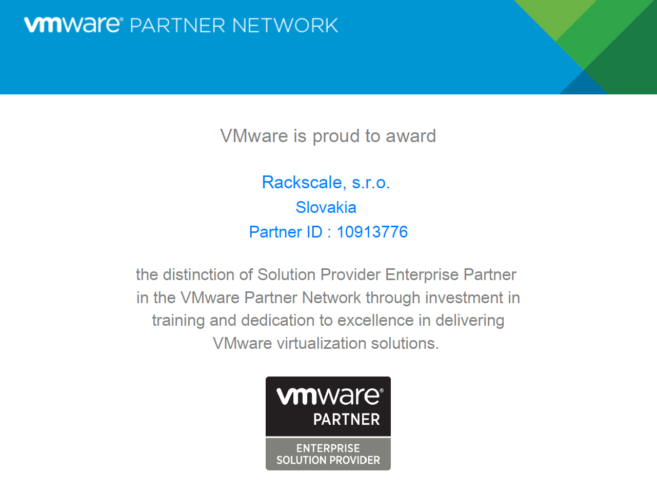 We are VMware Solution Provider Enterprise Partner